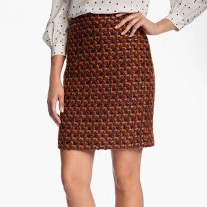 Kate Spade ♠️ Judy Orange/Brown Tweed Pencil Skirt